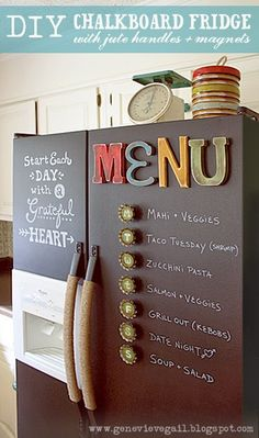 Genevieve Gail: DIY Chalkboard Fridge with Jute Handles and Custom Magnets LOVE the chalkboard paint- hubby isn't so keen so might use the stainless steel look spray paint. Chalkboard Diy, Chalkboard Fridge, Chalkboard Walls, Chalkboard Drawings, Chalkboard Lettering, Chalkboard Paint Kitchen, Magnetic Chalkboard Paint, Do It Yourself Design, Do It Yourself Home