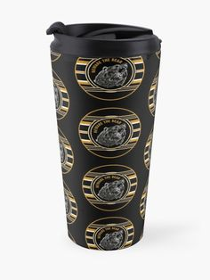 """Black & Gold Beware The Bear Pattern"" Travel Mug by HavenDesign My Coffee, Coffee Mugs, Travel Mugs, Black Gold, Bear, Pattern, Stuff To Buy, My Coffee Shop, Coffee Cups"