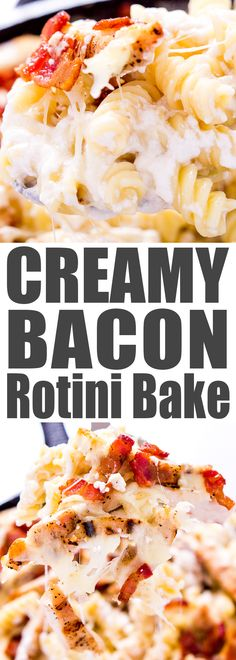 One Pot Creamy Bacon Rotini Bake with a gluten free option. Bacon. Melty cheese. Creamy sauce. My toddler's favorite 'springy' pasta. And bacon. I know I already said bacon, but it's worth repeating. Bacon. Because love can be bought – with bacon.
