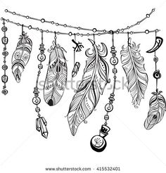 hand drawn illustration of dream catcher, native american