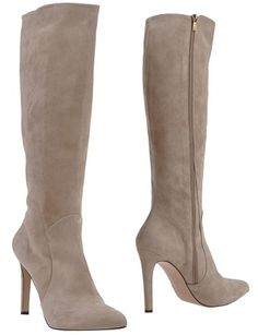 Tall stiletto heel suede boot by Pura López, as seen on YOOX.