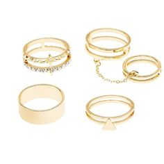 Charlotte Russe Caged Stackable Rings - 4 Pack (285 DOP) ❤ liked on Polyvore featuring jewelry, rings, accessories, gold, cage rings, chain ring, stackable rings, stacking rings jewelry and chains jewelry