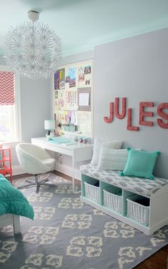 Like the bench cushion (maybe end of bed storage), window treatment, JULES sign // Jules' Fresh Mint & Coral Tween Room  Professional Project