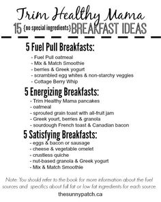 Eating breakfast the Trim Healthy Mama way is easy - even without the specialty ingredients! Check out this printable list!