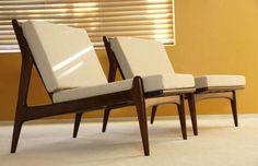 2 Danish Lounge Slipper chair Mid century Modern Eames Ib Kofod Larsen Selig Sty  PAIR Ib Kofod Slipper Chairs--New Upholstery--Denmark