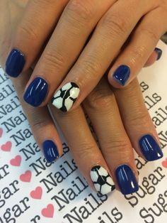 Soccer nails! Samurai blue for Japan team. Blue gel and soccer ball!