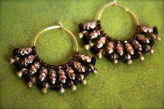 tribal ethnic golden brass hoop  earrings by whiterythmicwind, $36.00