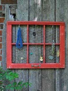 Vintage Window Repurposed into Jewelry Organizer Light Blue