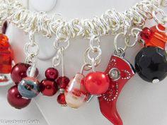 Red stretch bracelet with cute cowboy charm