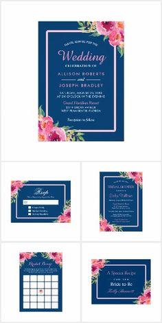 Invitation Suite: Purple Pink Floral Navy Blue