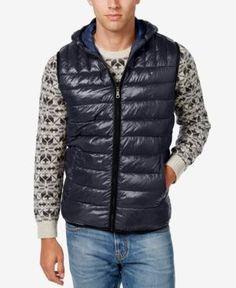 Tommy Hilfiger Men's Quilted Hooded Vest - Blue M
