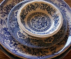 Blue dishes...remind me of my Grandmother...she died when I was 6 but I can still remember her blue dishes.