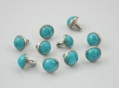 100 sets Blue Turquoise Rivet Studs Buttons by 18StudsandSpikes