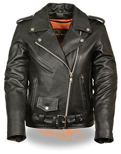 (My review of Ladies Leather Motorcycle Leather Jacket plain sides) -  The LC 2701 is a beautiful women's classic leather jacket . It has half belt and crossover snap down collar. It runs longer than usual and comes in regualr and plus sizes. A must have for fashion and great for riding on the motorcycle. Made with top grade leather.