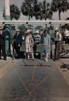 Visitors play shuffleboard at a recreation center near Mirror Lake in St. Petersburg, Florida, 1929