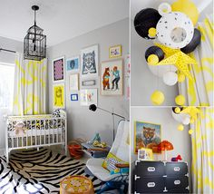 I love it when people manage to make the most of a room with plain walls. This proving that you can make a room what you want without painting! The pops of color in this room are just enough an make for a great kids room