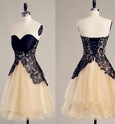 Sweetheart Lace Homecoming Dresses, Champagne Organza Homecoming Dresses,