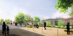Si les deux propositions finalistes cherchent à contenir les cours des écoles de l'espace public avec le bâti, le projet lauréat du cabinet Avant Propos Architectes est inverse.