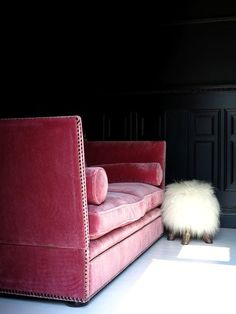 Home Decor Obsessed. Pink velvet sofa and fur ottoman.   www.lab333.com  www.facebook.com/pages/LAB-STYLE/585086788169863  www.lab333style.com  lablikes.tumblr.com  www.pinterest.com/labstyle