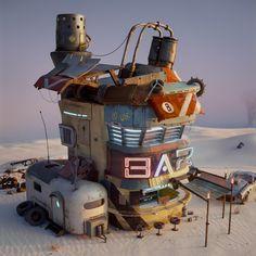 Based on Oscar Cafaro work Environment Concept Art, Environment Design, Captin America, Fallout Concept Art, Sci Fi City, Cafe Concept, Watercolor Architecture, 3d Artwork, Fantasy Landscape