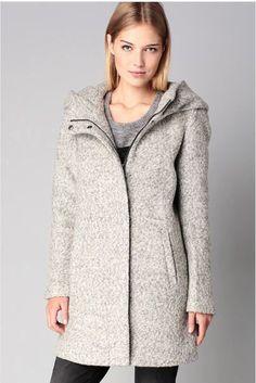 Manteau gris avec capuche femme