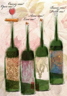 What my Wine says to me! by Jennifer Cook, via Behance (Wine Bottle Art) #cGreens
