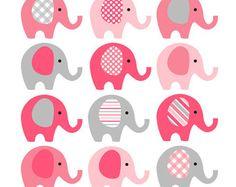Rosa gris elefante Clip Art - instantánea descargar - bebé muchacha bebé ducha imágenes prediseñadas los elefantes - rosado y caliente rosado