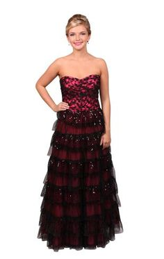 strapless prom dress with sequin embroidered lace...I got this dress for like $10! Great deal or what?!