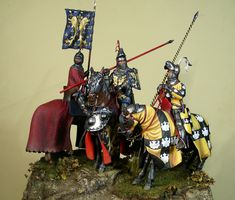 Robert de Bar, comte de Marle et Soissons and Valeran de Raineval, comte de Fauquembergh . Commanders of the French Third Battle Corps; both killed - Sito Personale di Mario Venturi Knight Models, Imperial Knight, Medieval Paintings, Military Figures, Virtual Museum, Medieval Knight, Arm Armor, Bar, Figure Model