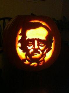 Edgar Allan Poe --- Literary Pumpkins For A Bookish Halloween --- What's a list… Halloween Party Themes, Diy Halloween Decorations, Holidays Halloween, Halloween Crafts, Chic Halloween, Halloween Ideas, Pumpkin Art, Pumpkin Carvings, Pumpkin Ideas