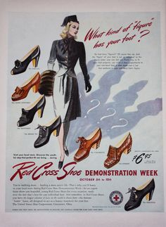 1940s United States Shoe Corporaation Red Cross Womens Shoes Ad | eBay