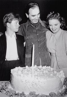 Judy Garland (w/ Mickey Rooney) at MGM, on her birthday