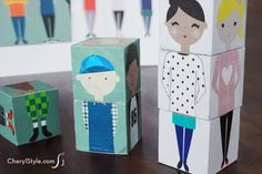 Make super fun DIY wooden block dolls with printable people and Tacky Glue   CherylStyle.com