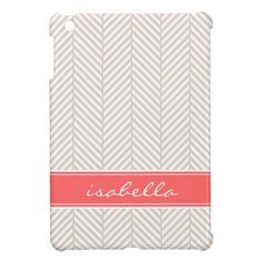 Linen Beige and Coral Herringbone Custom Monogram iPad Mini Cases