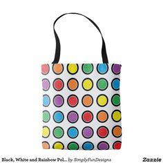 Black, White and Rainbow Polka Dots Tote Bag