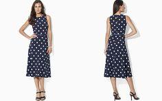 Lauren Ralph Lauren Sleeveless Belted Polka Dot Dress
