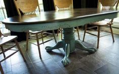 """Kitchen Table Redo Josh Anderson said his Element Architecture Co. has taken a home and apparent the apple what you can do with it.[[caption id="""""""" align=""""aligncenter"""" Painted Oak Table, Painted Kitchen Tables, Painted Furniture, Glazing Furniture, Furniture Board, Distressed Furniture, Refurbished Furniture, Furniture Projects, Furniture Making"""