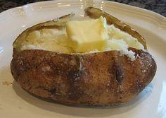the perfect baked potato! the perfect baked potato! the perfect baked potato! Cooking Baked Potatoes, Crispy Baked Potatoes, Best Baked Potato, Perfect Baked Potato, Potatoes In Oven, Baked Potato Recipes, Cook Baked, Baked Potato Oven Time, Russet Potatoes