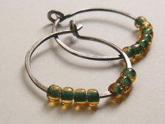 Sage Green Silver Hoop Earrings by TamiLopezDesigns on Etsy, $15.00