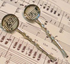 Music Hair Clips Pins: Gift for Her Music Lover, Music Clef Jewelry, Handmade Vintage Sheet Music Bobby Pins, Musical Note, Silver, Gift Box