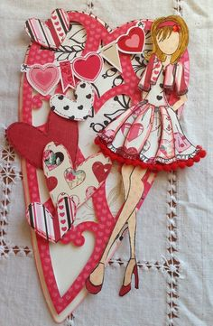 Prima Paper Dolls, Prima Doll Stamps, Love Valentines, Valentine Day Cards, Birthday Card Design, Scrapbook Paper Crafts, Scrapbooking, Handmade Birthday Cards, Doll Crafts