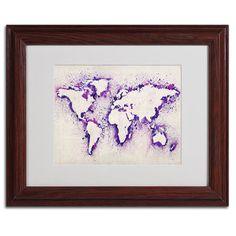 Michael Tompsett 'World Map... Purple Splash' Framed Matted Art