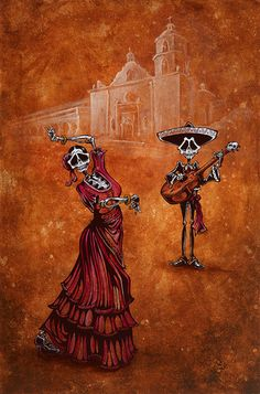 Day of the Dead Art by David Lozeau, Celebration of the Mission, Dia de los Muertos Art - 1