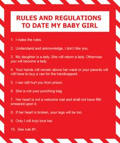fathers rules for dating his daughter Jwarren welch shared a post on facebook about the rules for dating his daughters which have become a rage on social media for how to raise independent, brave and strong women.