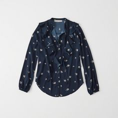 Abercrombie & Fitch Ruffle Button Down Blouse ($58) ❤ liked on Polyvore featuring tops, blouses, navy floral, flower print blouse, navy blue blouse, frilly blouse, blue ruffle blouse and floral print blouse