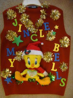 Deb's Ugly Tacky Christmas Sweater men's medium vest naughty dirty tweety jingle bells by keriblue4 on Etsy