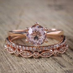 Ladies Wedding Engagement 14K Rose Gold Round Cut Diamond 2.Ct Bridal Ring Sets #2Jewelauction #SolitairewithAccents