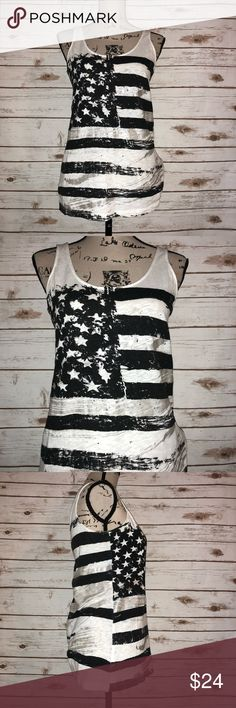 "Rock & Republic American Flag Tank Size S Size S  Armpit to armpit: 17""  Length: 26""  Fabric: 100% cotton  Rock & Republic   American flag graphic tank   Black and white w/ Silver foil embellishment   Slightly loose fit Rock & Republic Tops Tank Tops"