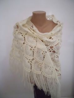cream Crochet Shawl Flower Mohair Triangle by kKnittedFashion, $63.00