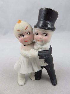 Vintage Kewpie Doll - Wedding Cake Topper Figurine - Bisque Bride Groom - Japan